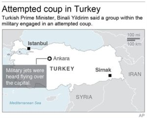 Map locates Ankara, Turkey where an attempted military coup took place. | Graphic provided by Associated Press, St. George News