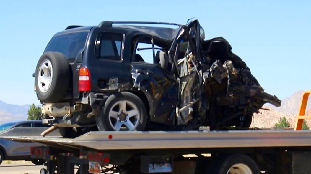 A five-car pileup in Hurricane Thursday afternoon injures four people, one critically. A 4-year-old child involved in the accident was uninjured, Hurricane, Utah, July 7, 2016   Photo by Mike Cole, St. George News.