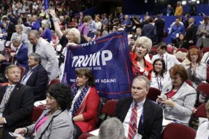 Trump supporters Kay Kellogg Katz, left, and Gena Gore from Monroe, La., cheer during first day of the Republican National Convention in Cleveland, Monday, July 18, 2016. | AP Photo/Matt Rourke, St. George News