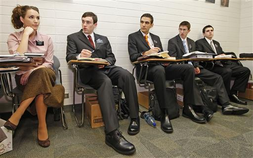 In this Jan. 31, 2008, AP file photo, Sister Erica Glenn, left, and other missionaries take Russian language class at the Mormon Missionary Training Center in Provo, Utah. Mormon missionaries will remain in Russia despite the country's new anti-terrorism law, which will put greater restrictions on religious work starting later this month. In a statement issued Friday, July 8, 2016, The Church of Jesus Christ of Latter-day Saints said that missionaries will respect a measure that Russian President Vladimir Putin signed into law this week. | AP Photo/George Frey, File; St. George News