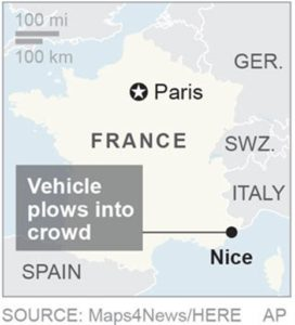 Map locates Nice, France, where a vehicle plowed into a crowd; 1c x 1 3/4 inches; 46.5 mm x 44 mm;