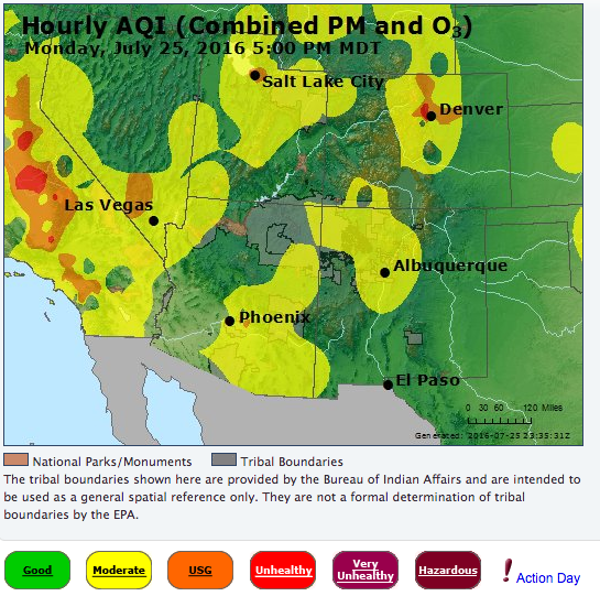 Map shows air quality index as of 5 p.m. Monday | Image courtesy of Environmental Protection Agency, St. George News