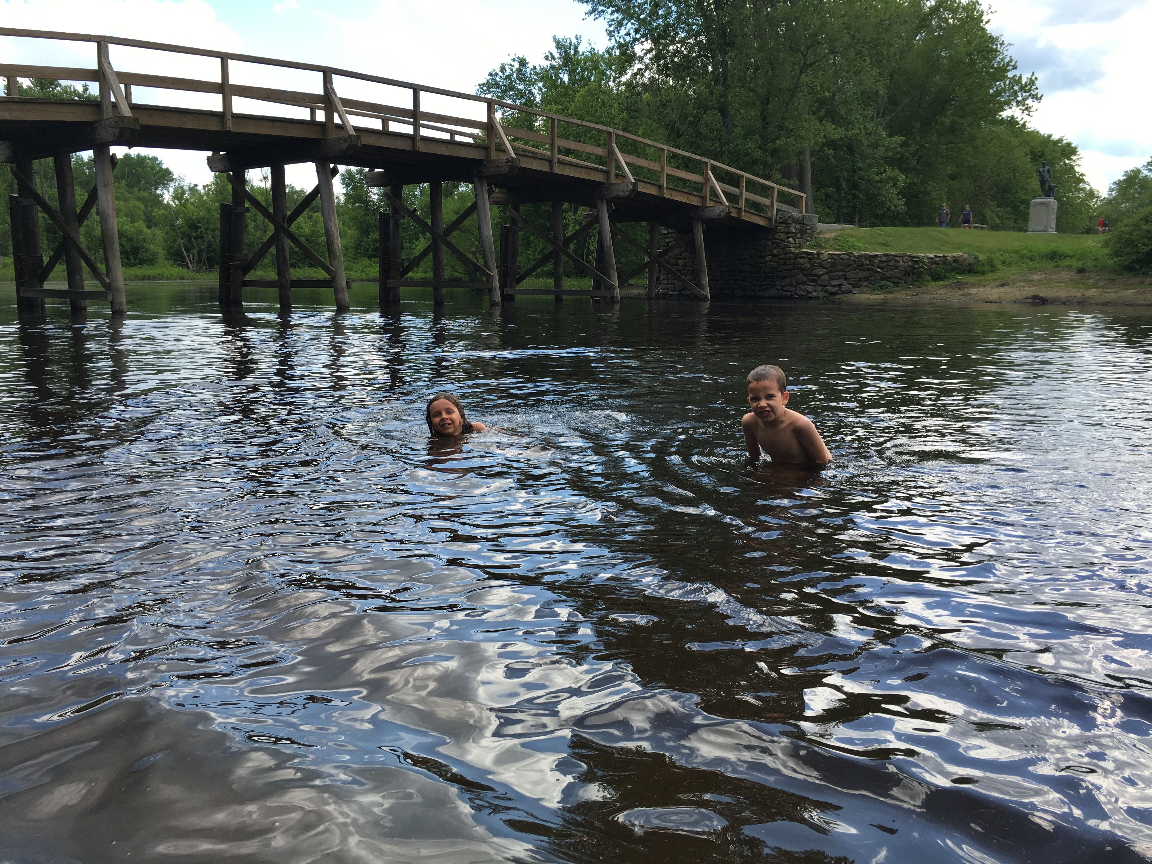 Two members of the Dayton crew wild swimming in the Concord River near Old North Bridge.  Concord, Massachusetts.  June 7, 2016 | Photo by Kat Dayton, St. George News