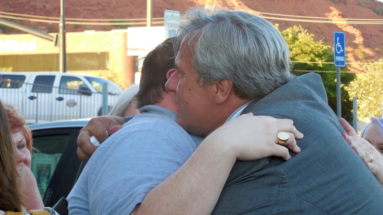 Varlo Davenport hugs a friend after receiving a not guilty verdict, St. George, Utah, July 14, 2016 | Photo by Julie Applegate, St. George News