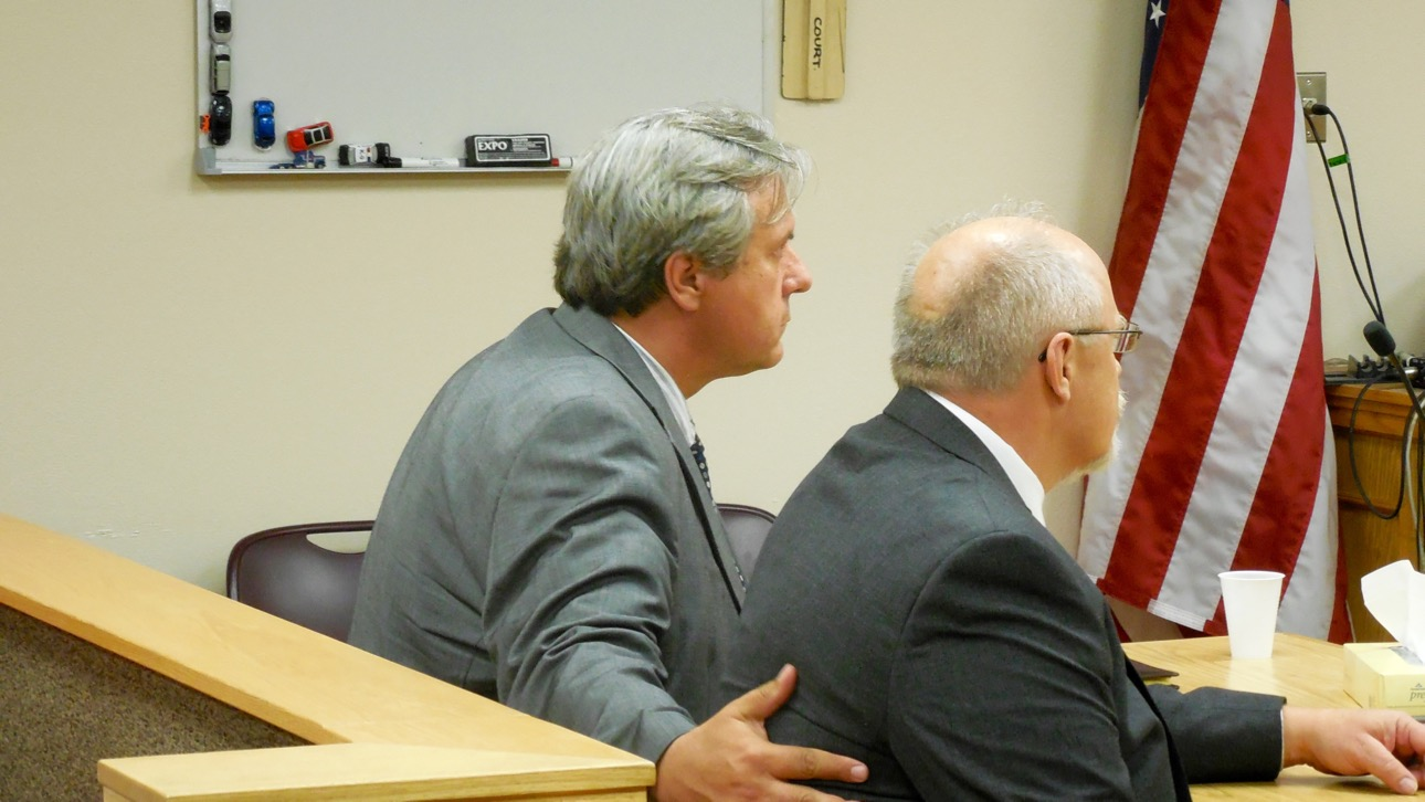 Varlo Davenport, left, and his attorney, Aaron Prisbrey, listen as a court clerk reads the verdict, St. George, Utah, July 14, 2016   Photo by Julie Applegate, St. George News