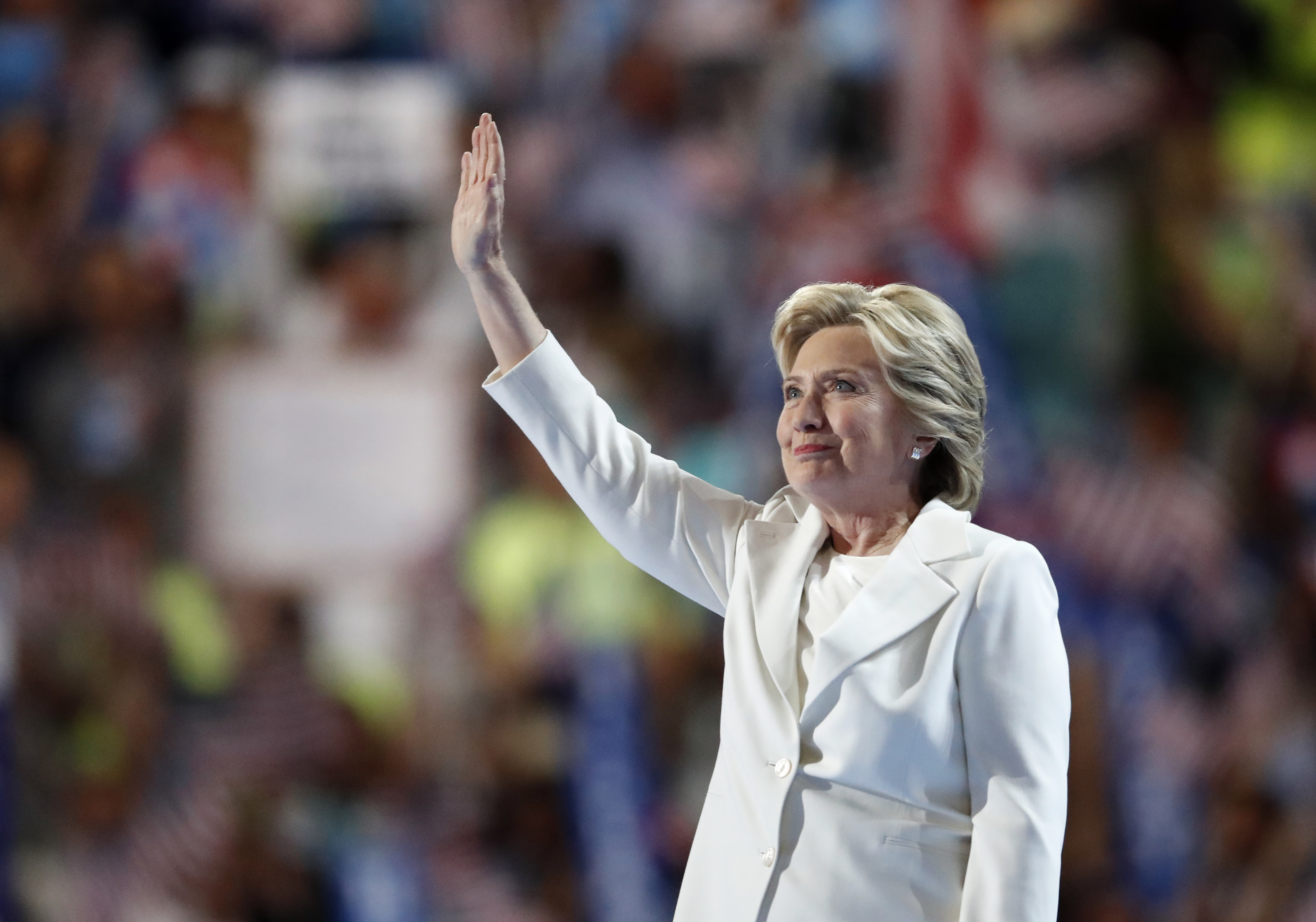 Democratic presidential nominee Hillary Clinton waves after taking the stage during the final day of the Democratic National Convention in Philadelphia , Thursday, July 28, 2016 |AP Photo by Paul Sancya, St. George News