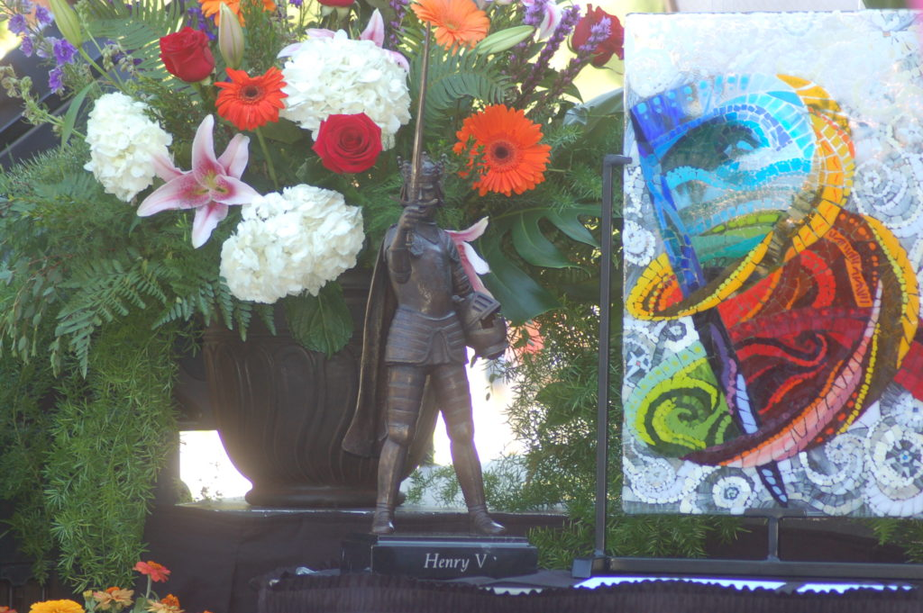 A sculpture of Henry V graces the podium during the dedication of the Beverley Taylor Sorenson Center for the Arts, Cedar City, Utah, July 7, 2016 | Photo by Hollie Reina, Cedar City News