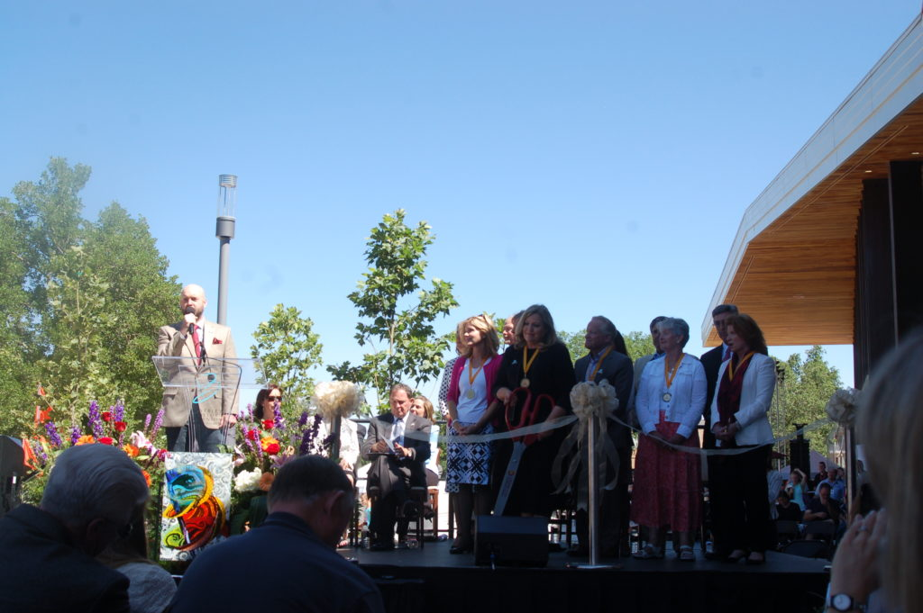 Members of the Sorenson family and others participate in the ribbon cutting for the new Beverley Taylor Sorenson Center for the Arts, Cedar City, Utah, July 7, 2016 | Photo by Hollie Reina, Cedar City News