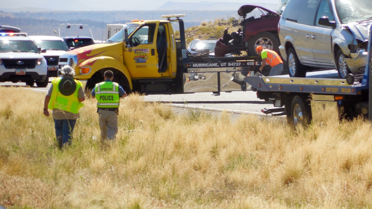 A five-car pileup in Hurricane Thursday afternoon injures four people, one critically. A 4-year-old child involved in the accident was uninjured, Hurricane, Utah, July 7, 2016 | Photo by Julie Applegate, St. George News.