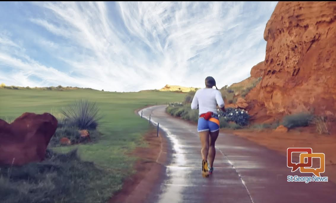 Screenshot: The Hurricane Half marathon course runs through part of the Sand Hollow Resort Golf Course, Hurricane, Utah, date not specified | Screenshot of video by Santiago Photography, courtesy of Elizabeth Dansie, St. George News