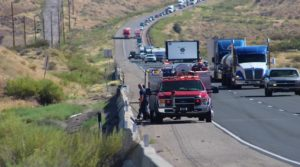 Hurricane Valley Fire District and Utah Department of Transportation's Incident Management Team responding to fire on Interstate 15, Washington County, Utah, July 14, 2016 | Photo by Cody Blowers, St. George News