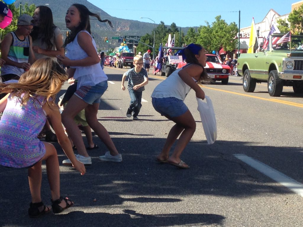 The mad dash for candy, Independence Day parade, Cedar City, Utah, July 4, 2016 | Photo by Paul Dail, Cedar City News