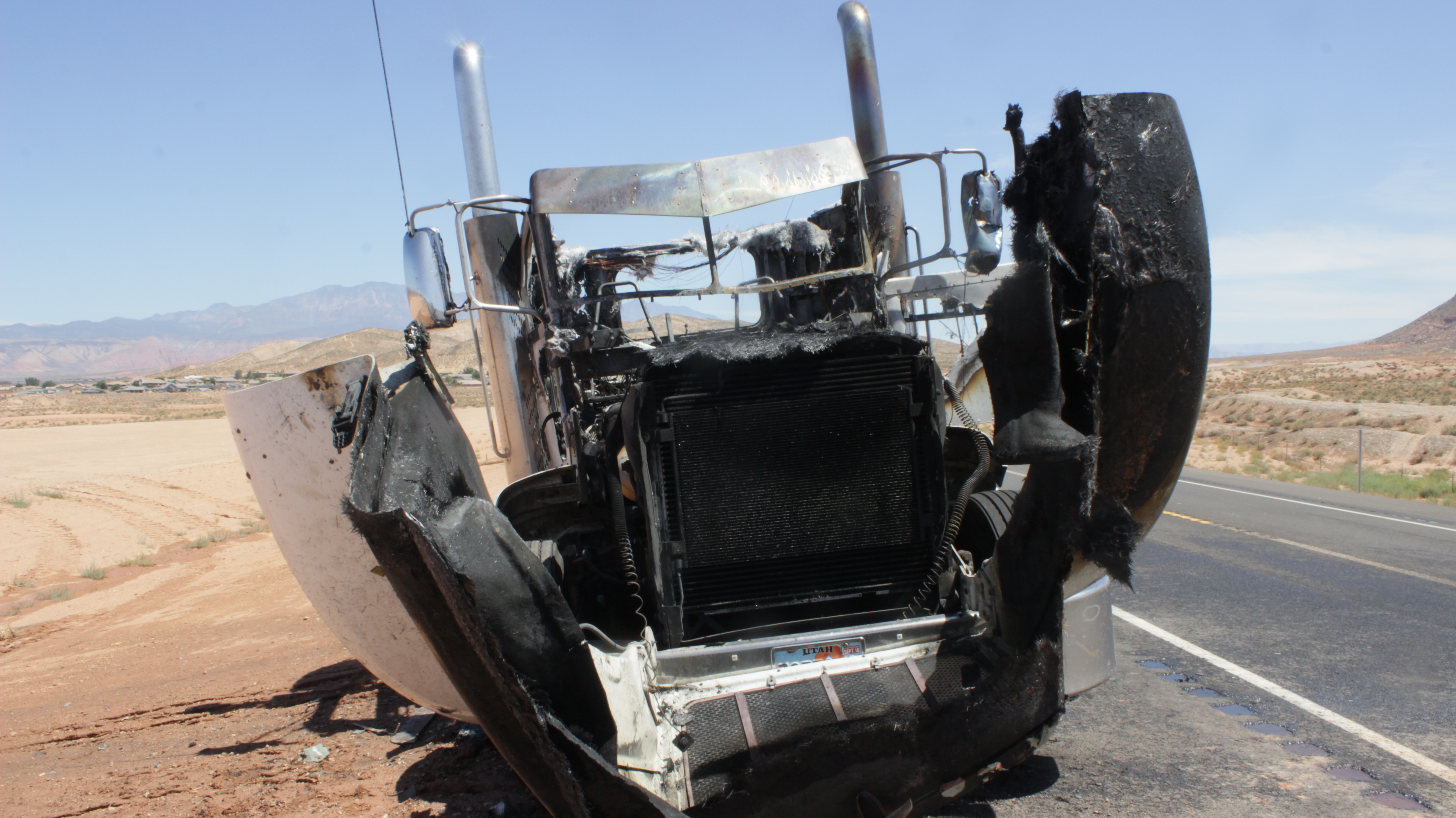 A semitractor caught fire on Utah state Route 7 Friday morning. By the time firefighters from the Washington City Fire Department arrived, the fire was fully involved, St. George, Utah, July 8, 2016 | Photo by Don Gilman, St. George News
