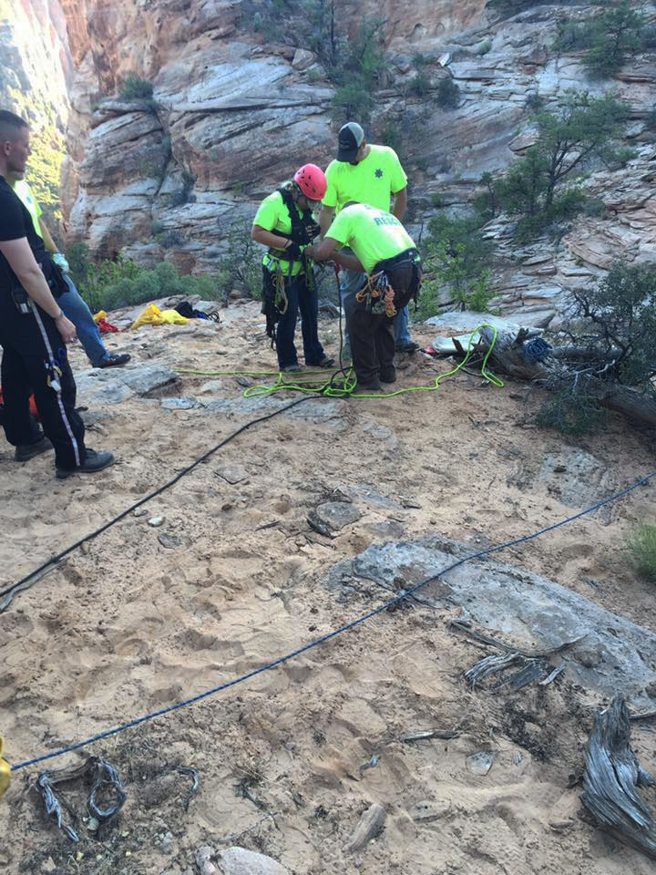 Four hikers are rescued Sunday after dropping into the wrong canyon, Not Fat Man's Misery, and running out of rope for the final 400-foot rappel, Zion National Park, July 10, 2016 | Photo courtesy Kane County Sheriff's Office Facebook page, St, George News