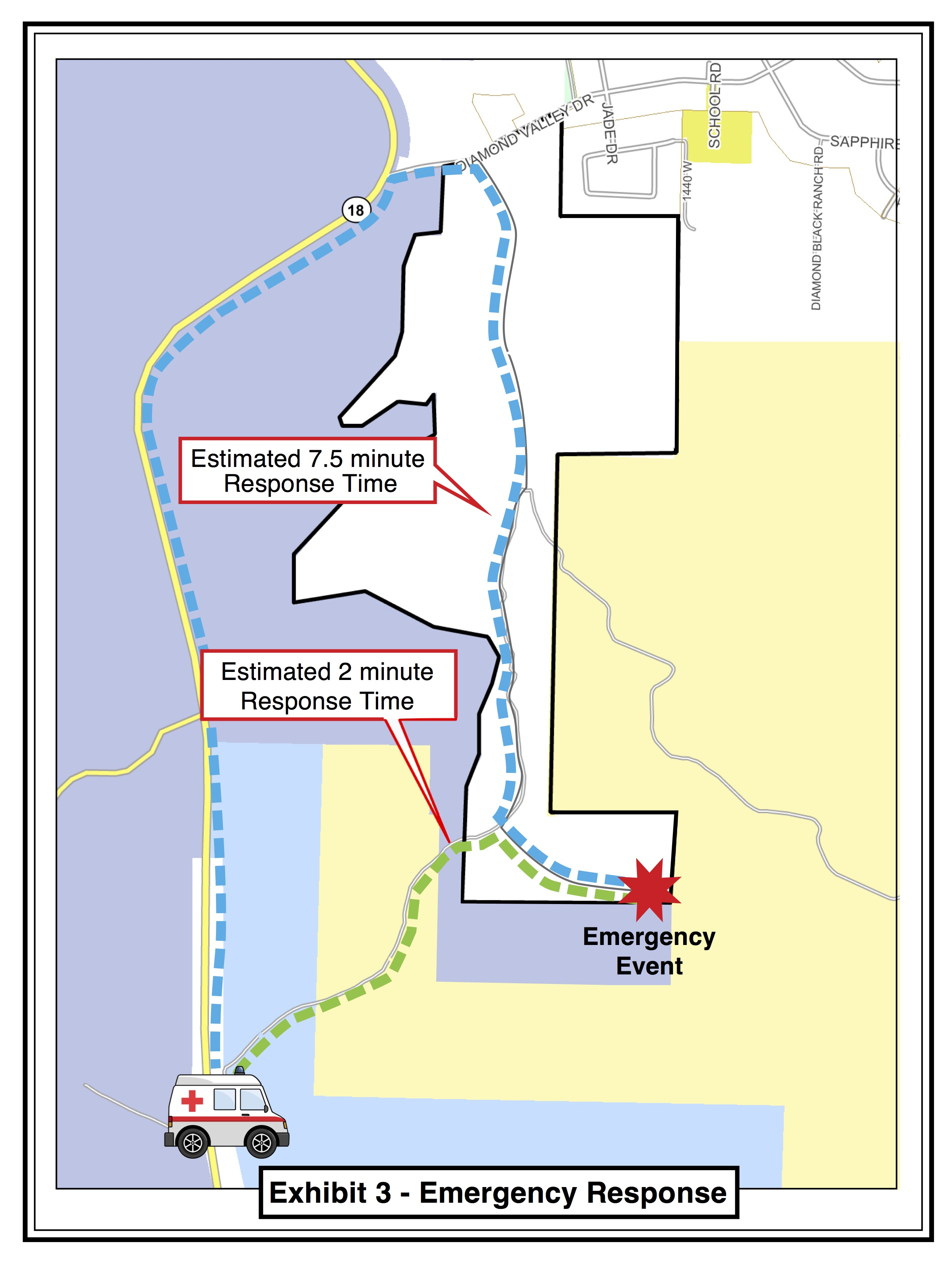Diagram showing estimated emergency response times with and without a new road into a proposed development south of Diamond Valley | Image courtesy of Washington County, St. George News