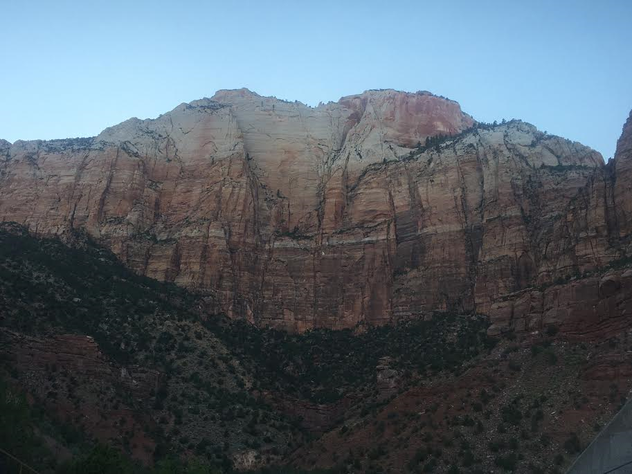 """The towering cliffs of Zion National Park create a stunning backdrop for """"Sanctuary: The Story of Zion"""" at the O.C. Tanner Amphitheater, Springdale, Utah, July 23, 2016 