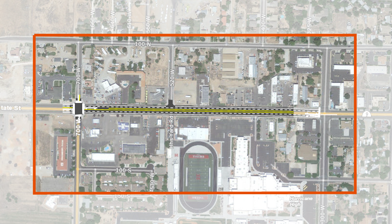 Area affected by a UDOT construction project on state Route 9 in downtown Hurricane, Utah | Map courtesy of UDOT, St. George News