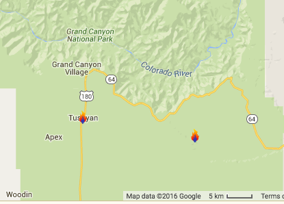Map identifying location of two wildfires burning in Kaibab National Forest. On the left is the Airstrip fire, on the right is the Scott Fire. | Map courtesy of fire managers using Google maps; St. George News