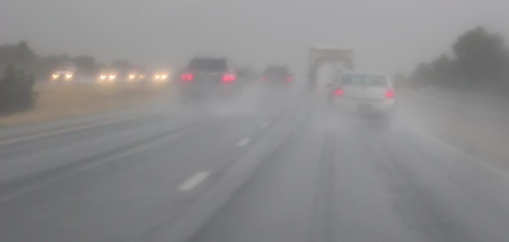 Low visibility and excess water puddling on Interstate 15 making driving conditions hazardous , Washington County, Utah, June 30, 2016 | Photoby Cody Blowers, St. George News