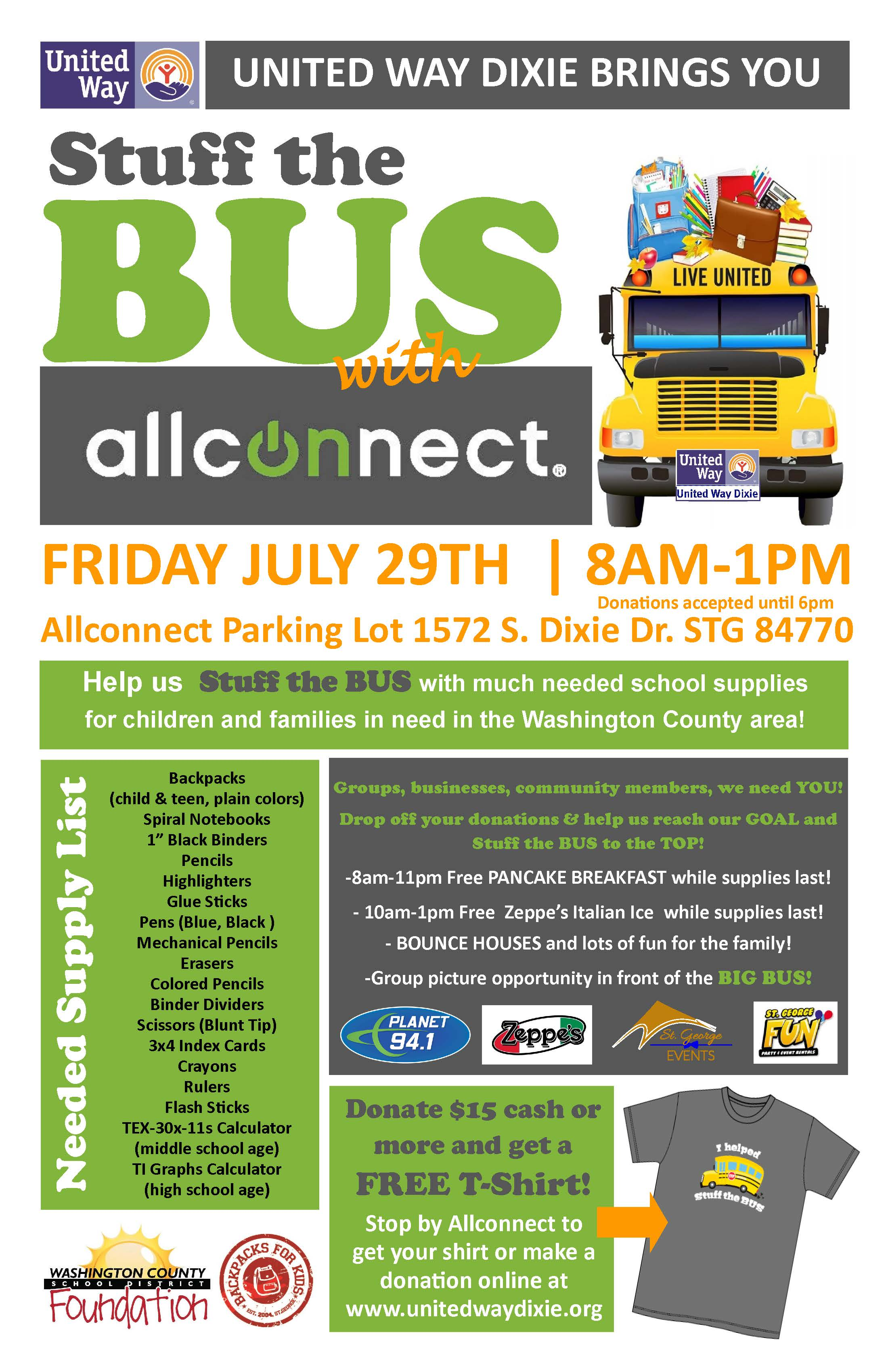 """Stuff the BUS"" flyer courtesy of United Way Dixie, St. George News 