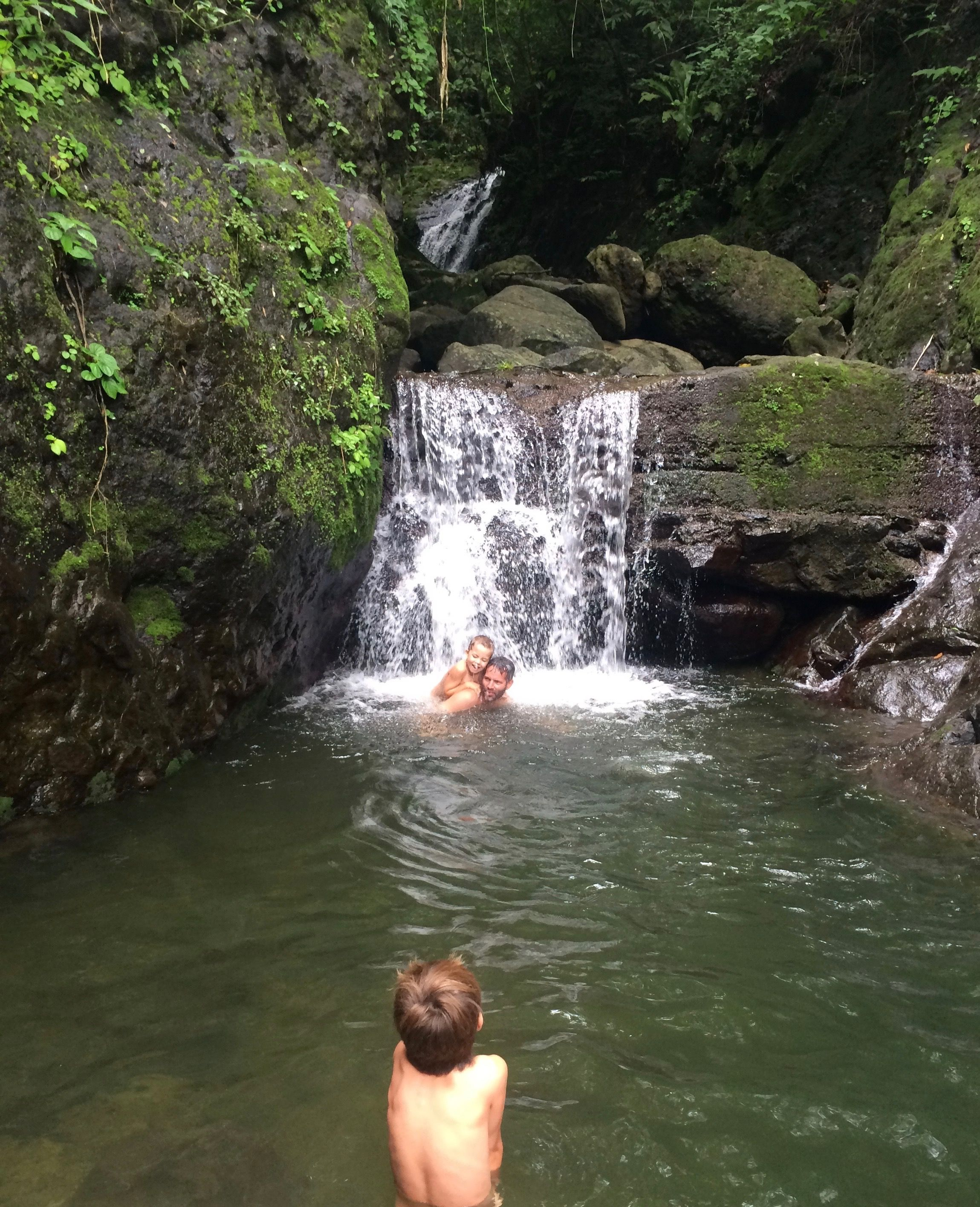 Daytons wild swimming in a natural pool on the hike to Cerro La India Dorminda.  El Valle de Antón, Panama.  July 13, 2015 | Photo by Kat Dayton, St. George News