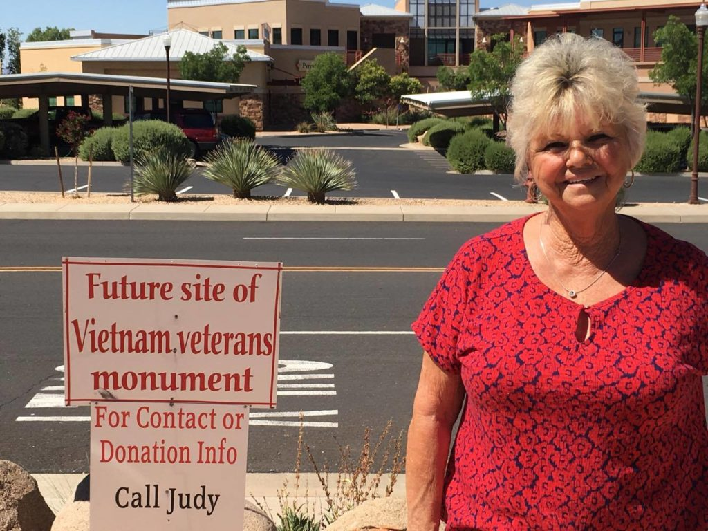 Judith Cooley stands at the future sight of the Vietnam veterans monument at Zion Harley Davidson, Washington City, Utah, July 23, 2016 | Photo by Hollie Reina, St. George News