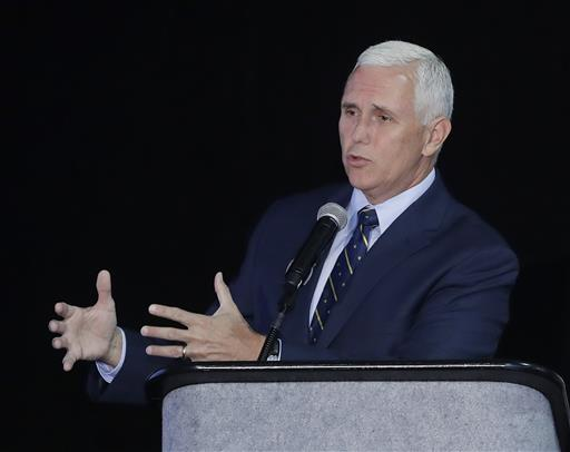 In this file photo, Indiana Gov. Mike Pence speaks in Indianapolis. Republican presidential candidate Donald Trump says on Twitter that he has picked Pence as his running mate, July 14, 2016 | AP Photo by Darron Cummings, St. George News