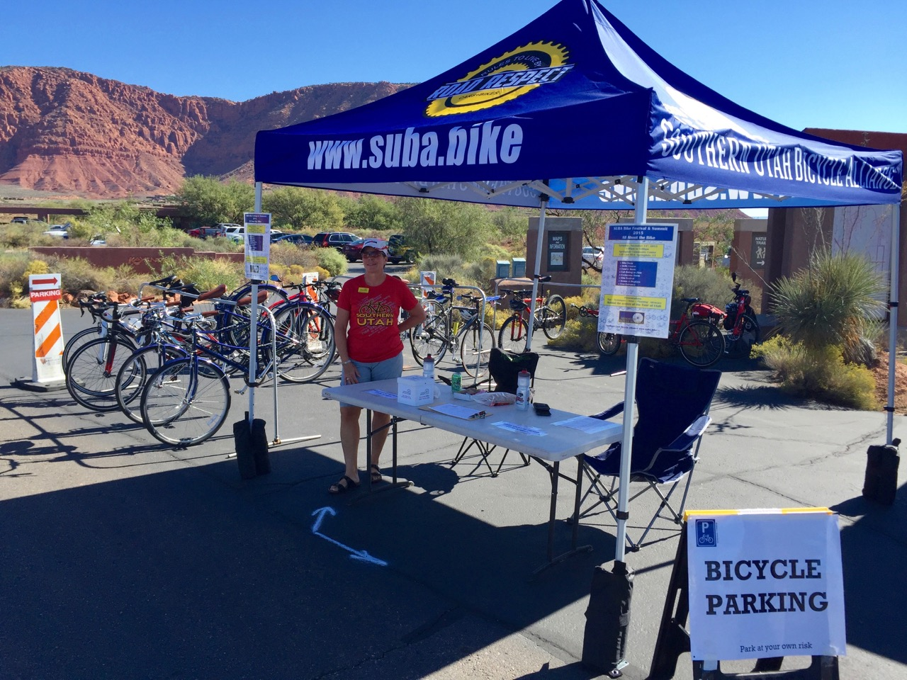 This photo from previous years shows the Southern Utah Bicycle Alliance bike valet. The valet will be ready at the Tour of Utah start, Zion Canyon Village, to keep spectator bikes safe. Springdale, Utah, date not specified. | Photo by Craig Shanklin, St. George News