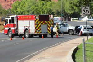 St. George Fire Department respond to scene of two-vehicle collision on Bluff Street and 100 South, St. George, Utah, July 16, 2016 | Photo by Cody Blowers, St. George News