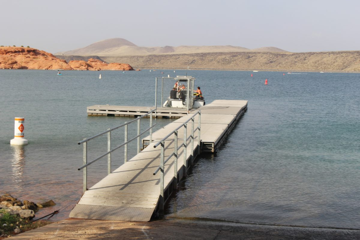 Sand Hollow rescue boat leaving dock with members of Seach and Rescue Dive Team to recover a sunken personal watercraft  that stranded three women, Sand Hollow State Park, Hurricane, Utah, July 30, 2016   Photo by Cody Blowers, St. George News