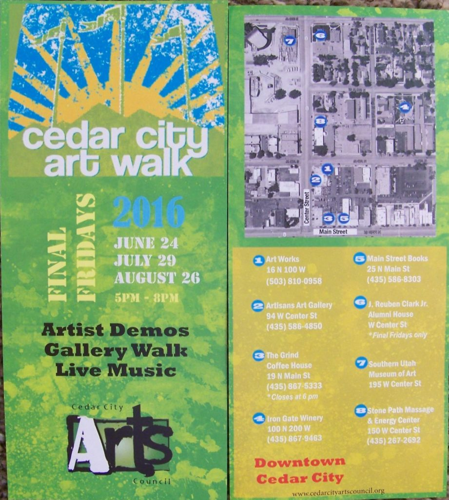 Cedar City Art Walk 2016 Map| Photo courtesy of Cedar City Art Council, St. George News, Cedar City News