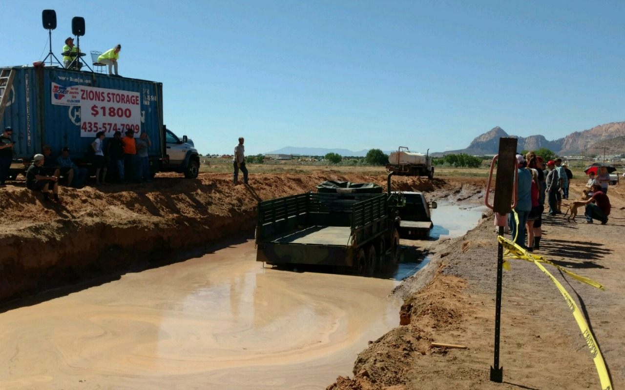 A mud channel where trucks were being pulled at a Mud Bogging event when a 10-year-old girl was injured after a cable snapped, Colorado City, Arizona, July 23, 2016 | Photos courtesy of Joan Dineen, St. George News