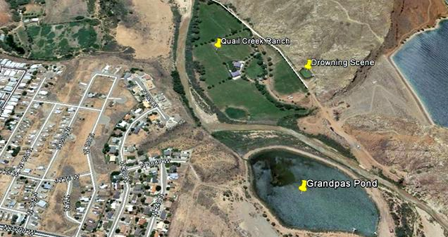 This file photo from Google Earth shows the private pond near Quail Creek Ranch where a man drowned Wednesday. Hurricane, Utah, undated. | Photo courtesy of Google Earth, St. George News