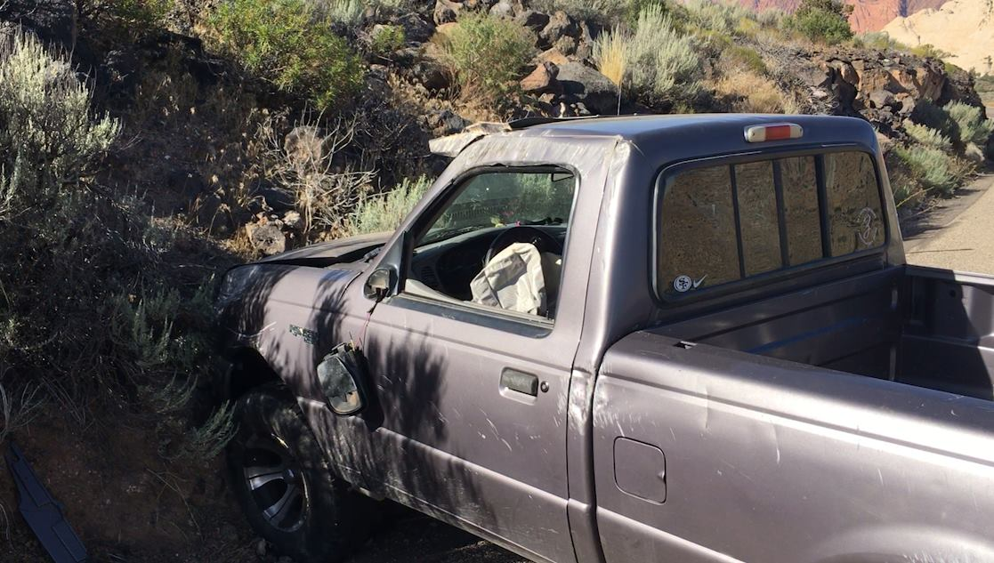 A 19-year-old woman crashed a Ford Ranger pickup truck Monday after trying to shift into neutral to save fuel, Diamond Valley, Utah, July 11, 2016 | Photo by Mike Cole, St. George News