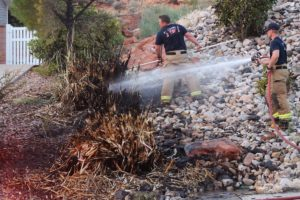 Firefighters respond to brush fire in residential neighborhood stated by fireworks, St. George, Utah, July 24, 2016 | Photo by Cody Blowers, St. George News