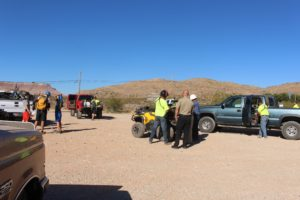 Group assembles at command post set up after family of four is rescued near J.E.M. Trail, one transported Life Flight, Hurricane, Utah, July 15, 2016 | Photo by Cody Blowers, St. George News