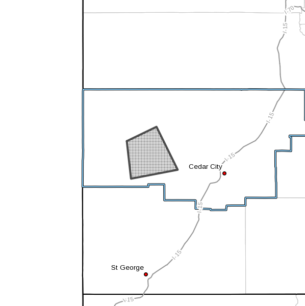 A severe thunderstorm warning has been issued for west-central Iron County, July 31, 2016 | Image courtesy of National Weather Service, St. George News