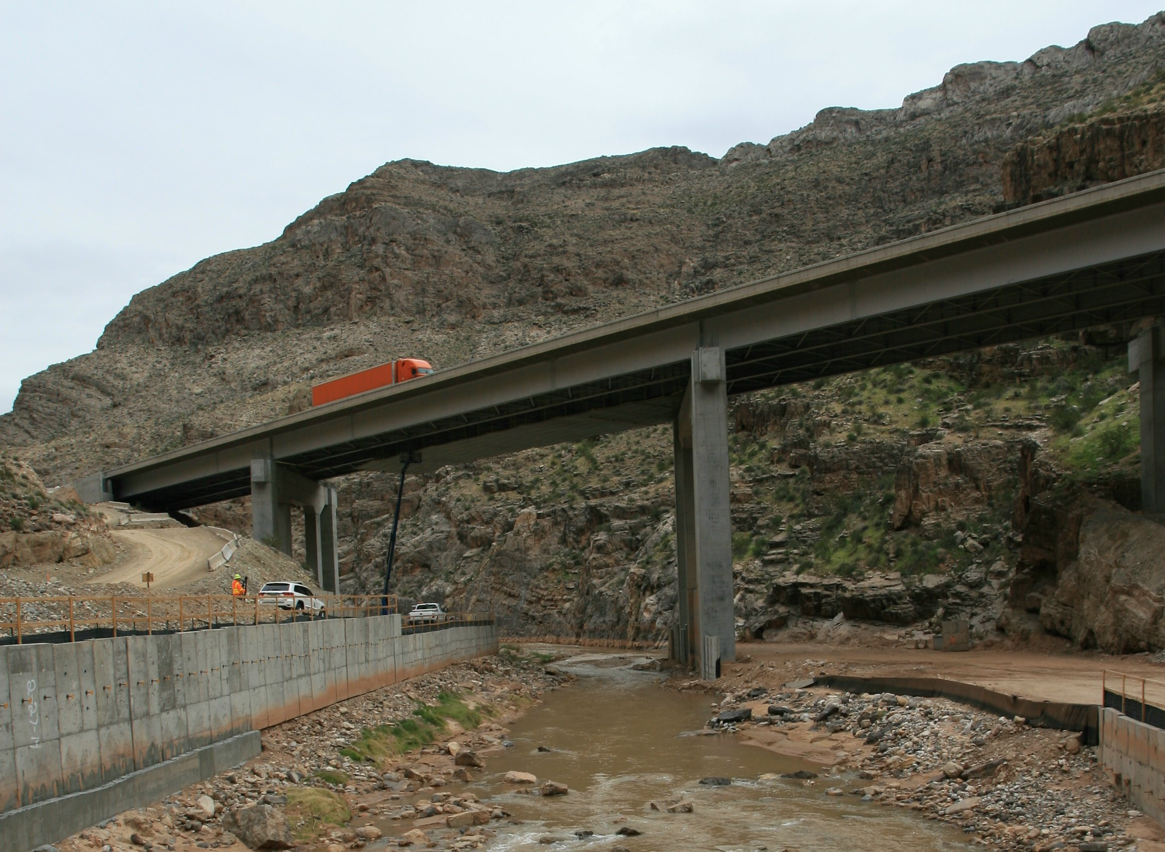 I-15 Bridge no. 6 Virgin River Gorge as seen in late 2014 as crews worked to renovate and upgrade it, Mohave County, Arizona, circa December 2014 | Photo courtesy of the Arizona Department of Transportation, St. George News