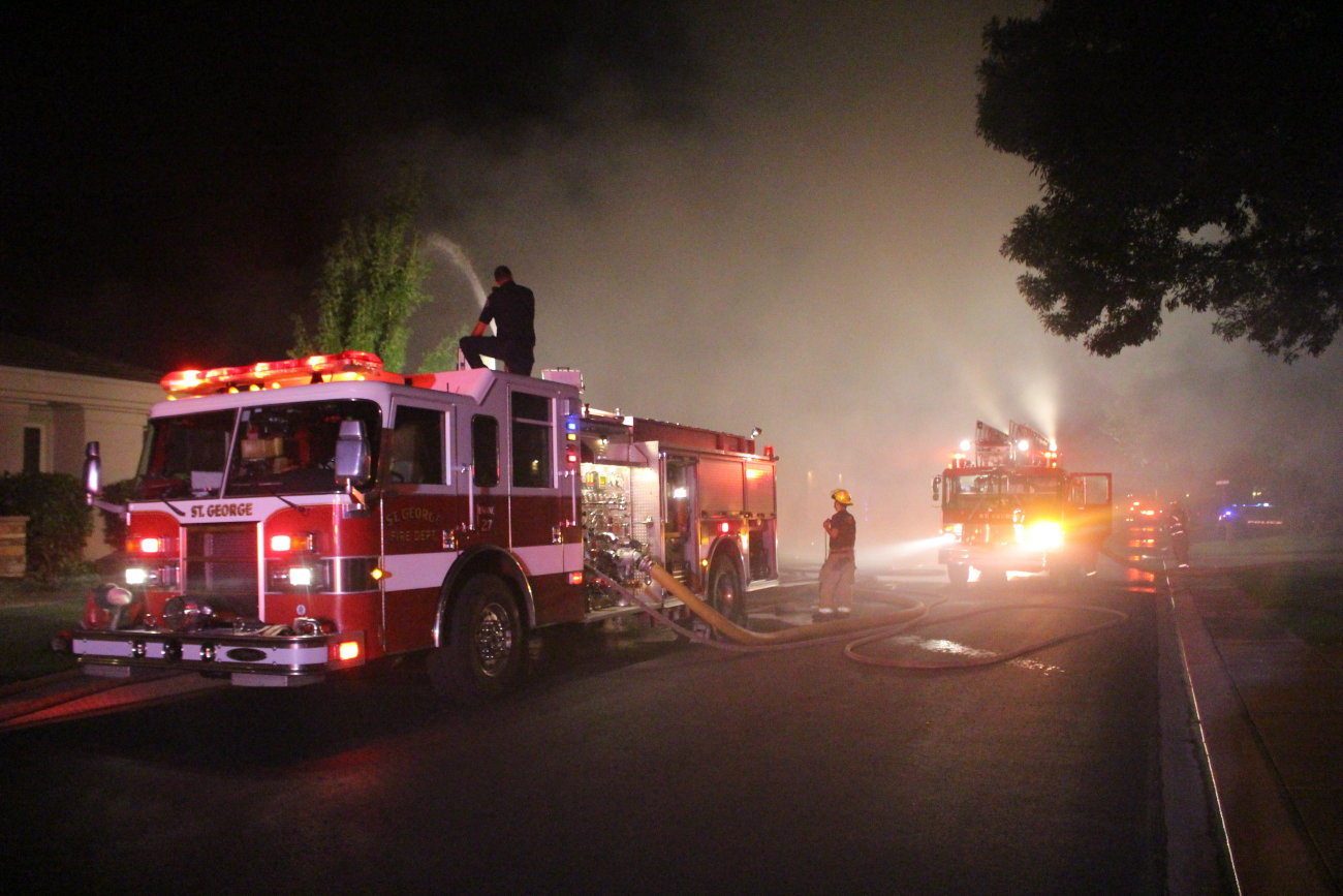 Firefighters responded to an early-morning structure fire on Monterey Drive in St. George. While no one was harmed in the blaze, the house was a total loss, St. George, Utah, July 9, 2016 | Photo by Mori Kessler, St. George News