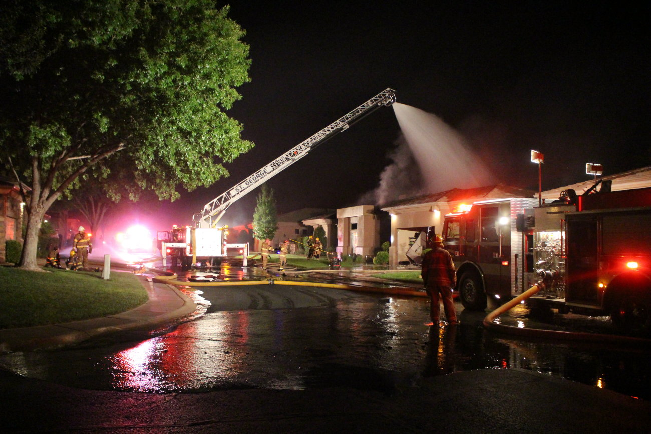 Firefighters responded to an early-morning structure fire on Monterrey Drive in St. George. While no one was harmed in the blaze, the house was a total loss, St. George, Utah, July 9, 2016   Photo by Mori Kessler, St. George News