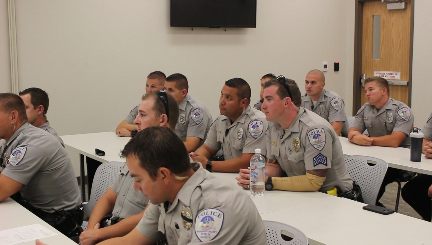 Washington City Police officers learning about Naloxone, also known as Narcan, and how it reserves the effects of an opioid overdoses. It is latest tool the Washington City Police Department has employed for potentially saving a life, Washington City, Utah, July 13, 2016 | Photo by Mori Kessler, St. George News