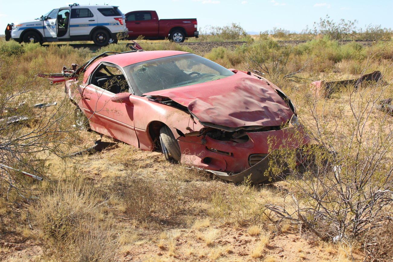 A rollover on southbound I-15 near milepost 7 in Arizona left two men in critical condition and is believed to have been caused by a blown out tire, Littlefield, Arizona, July 18, 2016 | Photo by Mori Kessler, St. George News
