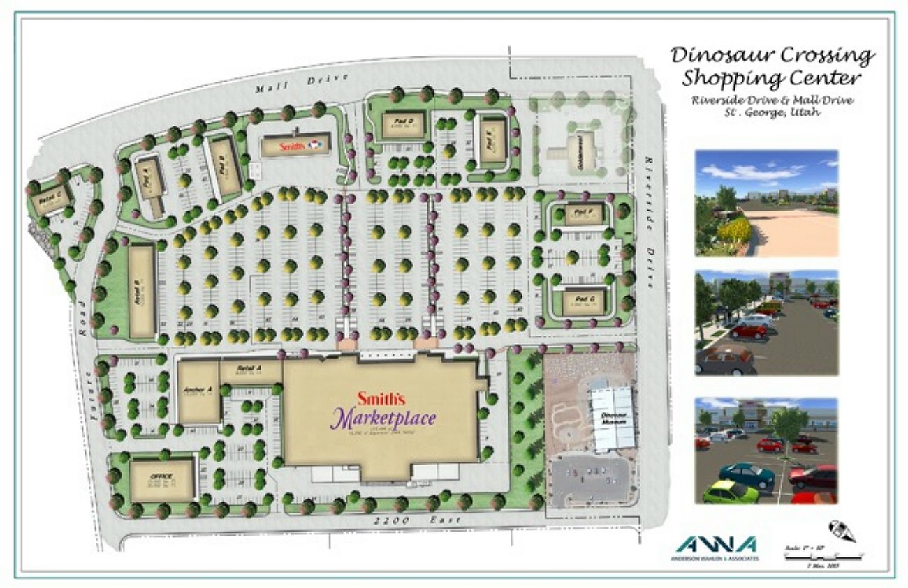 Graphic detailing the layout of the incoming commercial center at Mall Drive and Riverside Drive, St. George, Utah, July 6, 2016   Graphic courtesy of Smith's Food & Drug, St. George News