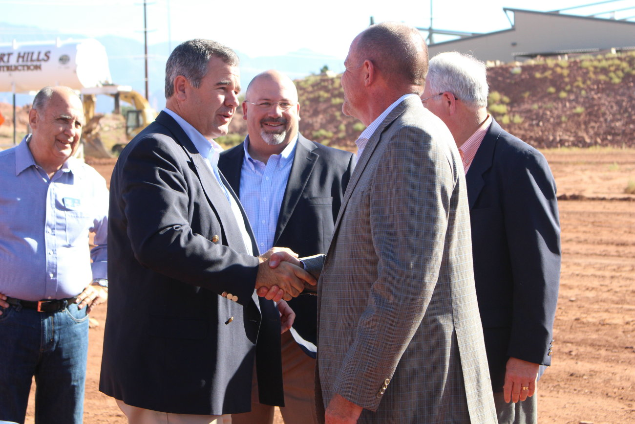 Mayor Jon Pike (second in from the left) and representatives of Smith's Food & Drug, Wadman Coperation, Woodburg Corpartion and Ball Ventures. Each group is in involved in developing the incoming Smith's Supermarket and commercial center at Mall Drive and Riverside Side, St. George, Utah, July 6, 2016 | Photo by Mori Kessler, St George News
