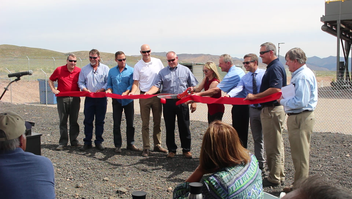 Cutting the ribbon for the Veyo Heat Recovery Project. The $22.3 million facility produces 7.8 megawatts of electrical power converted from waste heat taken from a natural gas compression facility, Veyo, Utah, June 28, 2016 | Photo by Mori Kessler, St. George News