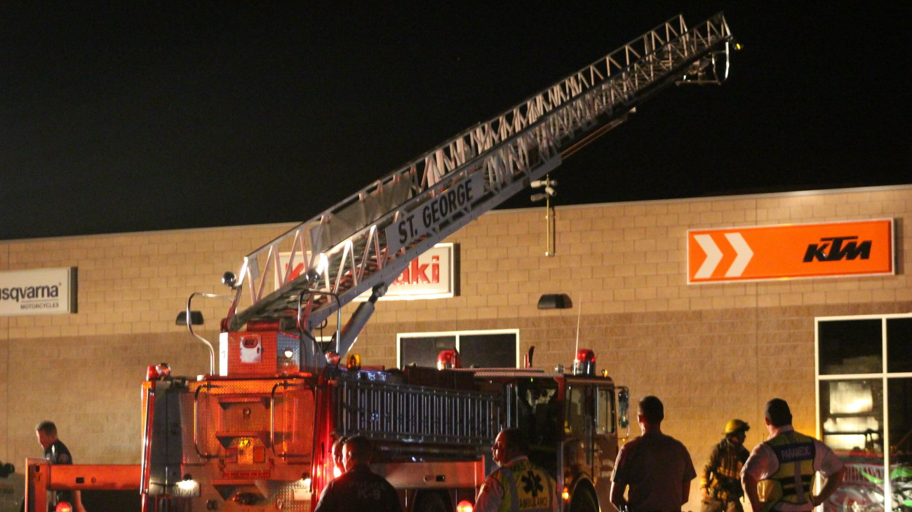 Firefighters with the Washington City and St. George Fire Departments responded to a fireworks-caused fire on a business rooftop on Buena Vista Boulevard, Washington City, Utah, 4 July, 2016   Photo by Mori Kessler, St. George News