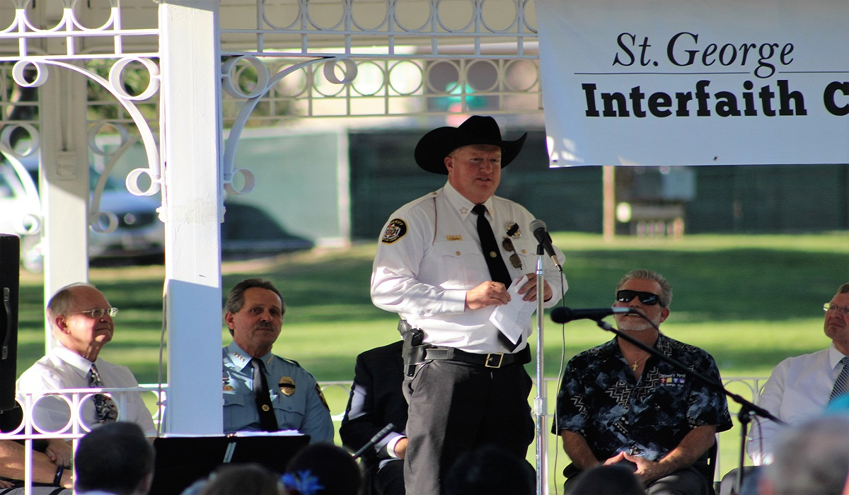"Washington County Sheriff Cory Pulsipher speaking at the  ""Honor and Thank Law Enforcement"" gathering at Vernon Worthen Park in St. George, Utah, July 10, 2016 
