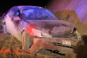 Toyota Camry extensively damaged after rollover on Interstate 15 northbound near the Port of Entry, Mohave County, Ariz., July 27, 2016 | Photo by Cody Blowers, St. George News