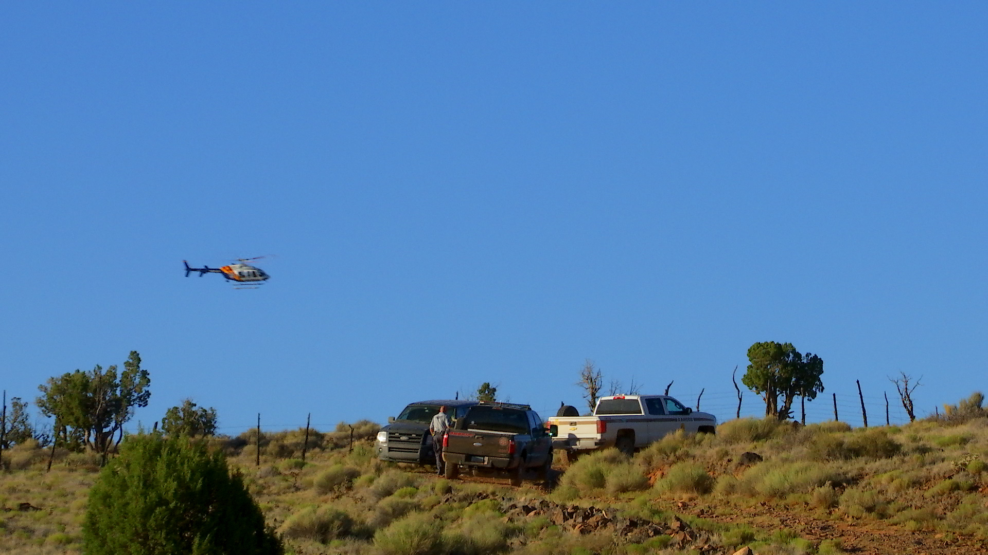 Mohave County Sheriff's search and rescue team, Arizona Department of Public Safety (helicopter) and personnel from Southern Utah agencies spent Thursday searching a portion of the Arizona Strip near Mt. Trumbull for 30-year-old David Heisler. Heisler went missing from his Santa Clara home June 27 and two suspects have since confessed to abducting him. Francis Lee McCard allegedly told police he dropped Heisler off in the desert location, being searched, alive. Arizona Strip, Arizona, July 7, 2016 | Photo by Kimberly Scott, St. George News