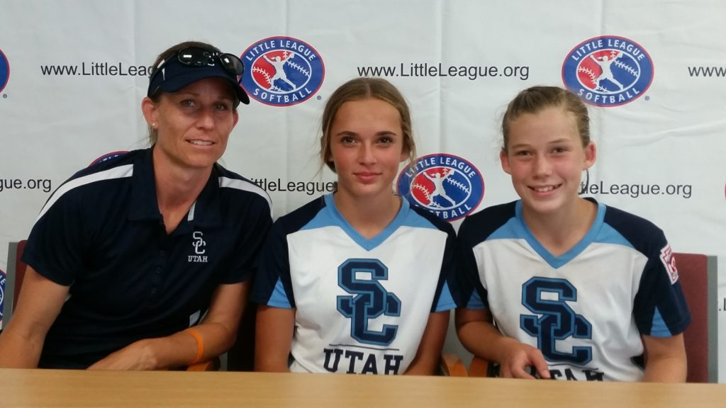 Snow Canyon coach Markay Thorkelson (left), with Kambrie Stuart and Jenna Thorkelson, at the Little League softball Western Regional finals Jul. 29, 2016, in San Bernardino, Calif. | Photo by Dennis Pope, special to St. George News